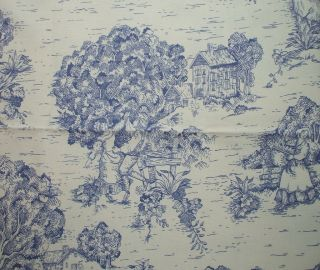 NEW 84 French Country Toile Indigo Blue Fabric Shower Curtain Cotton