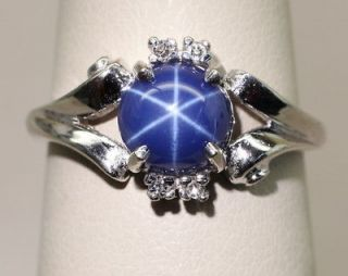 65 Carat Azure Blue Star Sapphire & Diamond Accent 14K Gold Ring