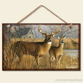 New RUSTIC DEER SIGN Wall Decor CABIN Picture LODGE Plaque River Woods