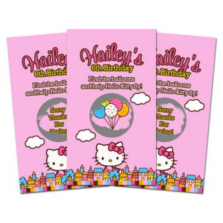 10 HELLO KITTY BALLOON DREAMS Birthday Party Personalized SCRATCH OFF