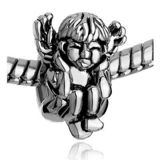 PUGSTER SILVER ANGEL SQUATTING HEAR NO EVIL EUROPEAN CHARM BEAD FOR