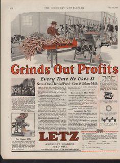 1929 LETZ FEED MILL COW STALL BARN FARM MACHINE GRAIN MILK HOUSE