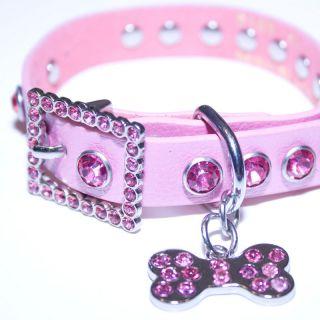 Pink Leather, Rhinestone Dog Collar w/ Bling Dog Bone Charm