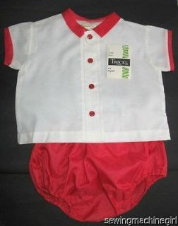 VINTAGE 1960s CUTE BABY BOYS SHIRT AND BLOOMER SET RED AND WHITE NWT