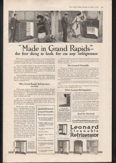 1918 LEONARD REFRIGERATOR ICE BOX GRAND RAPIDS MICHIGAN KITCHEN