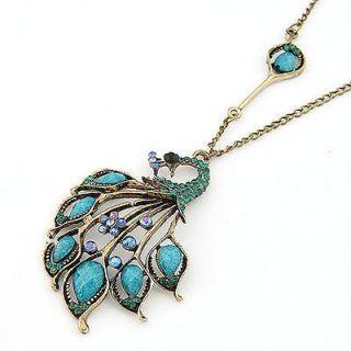 fashion vintage jewelry necklace chain peacock blue diamond pendant