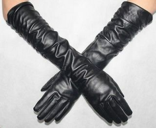 Women 50cm Long PU  Leather Gloves Over Fashion Long Gloves Black