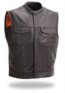 Leather Single Back Panel Concealed Carry Outlaw Club Motorcycle Vest