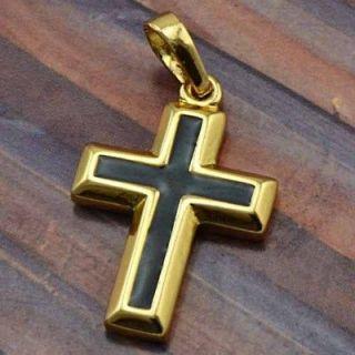 Black Enamel 9K Solid Gold Filled Cross Pendant,P154