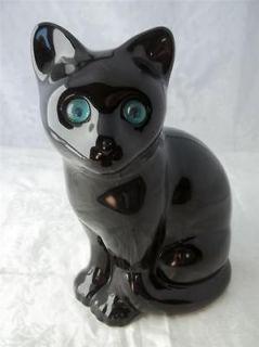 ELPA Alcobaca Portugal Black Cat Aqua Blue Eyes Figurine