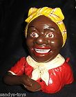 CAST IRON BLACK AMERICANA JOLLY N MECHANICAL RED BLOUSE GIRL BANK