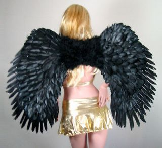 SUPER LARGE Black Feather Angel Wings Costume + HALO Gothic Halloween