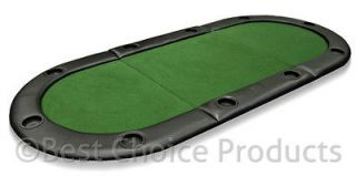 Poker Table Folding 79 X 36 Padded Oval Poker Table Top Green Felt