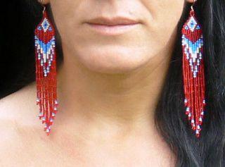 Extra Long Red Blue White Earrings Dangle Boho Jewelry Geometric