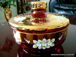 CZECH BOHEMIA MADESK GOLD HIGH ENAMEL RUBY RED/CRANBERRY CRYSTAL GLASS