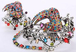 Multi color crystal toucan slave bracelet ring set 1;buy 10 items free