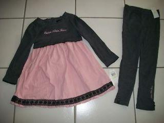 KLEIN Girl 4 4T Top Tunic Dress Shirt Leging Pant Set Lace Pink Gray