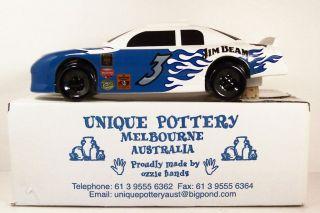 DECANTER ~ STOCK CAR ~ #3 JIM BEAM ~ BLUE WHITE ~ 10 1/2