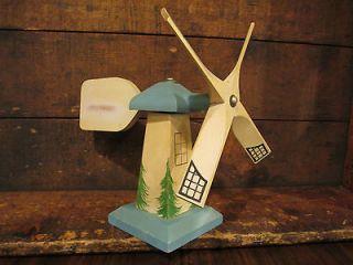 Vintage Holland Michigan USA Blue Windmill Whirligig Dutch Boy Girl