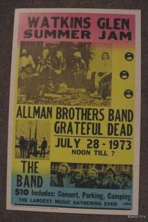 THE ALLMAN BROTHERS BAND GRATEFUL DEAD 70s POSTER art 1973 Gregg