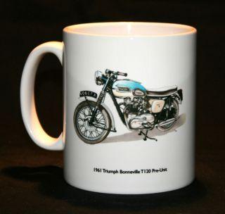 Motorbike Mug. 1961 Triumph Bonneville T120 & Triumph tank badge