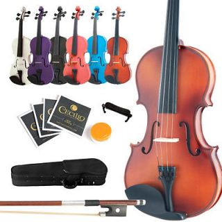 Violin ~Solid Wood Black Blue Pink Purple White +Case+Bow+Rosin