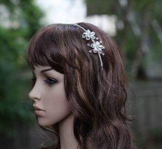 Elegant Crystal & Pearl Bridal Wedding Headband with Flower Side