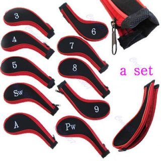 Set Of 10 Sleeve Golf Club Iron Headcovers Head Cover Protect Case Red