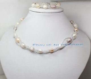 white pink lavender rice pearl bracelet necklace 17 fashion jewe