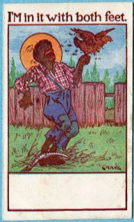 G4258 Black boy bitten by Chicken, Signed Crane, Foot in trap postcard