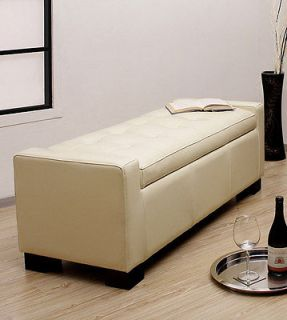 NEW 50L DURABLE CREME TUFTED ANILINE LEATHER BENCH WITH STORAGE AND