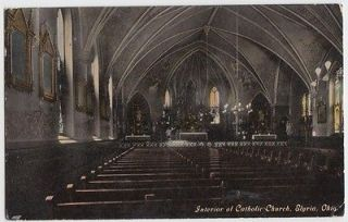 ELYRIA Ohio Postcard Lorain County c1910 INTERIOR Catholic Church pews