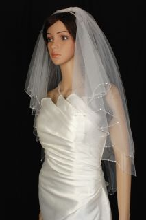 Wedding Veil Bridal Bride Two Tier Scalloped Elbow Diamond Off White
