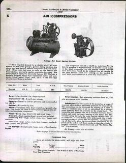 1930 AD Kellogg Gas Service Station Air Compressor Bearcat Brunner