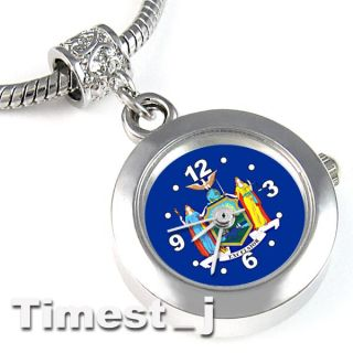 New York City Flag Silver European Spacer Charm Bead Watch For