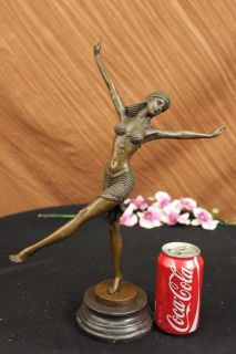 Stunning Bronze Art Deco Dancing Lady Signed Chiparus Figurine