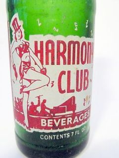 vintage ACL Soda Bottle: green gls HARMONY CLUB / CLEVELAND  7 oz