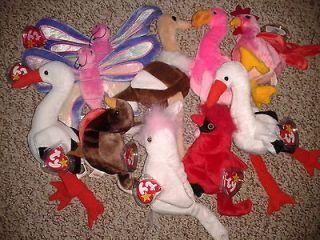 10 Ty Beanie Babies Birds/Butterfly Flitter x2, Pinky, Mac, Stretch