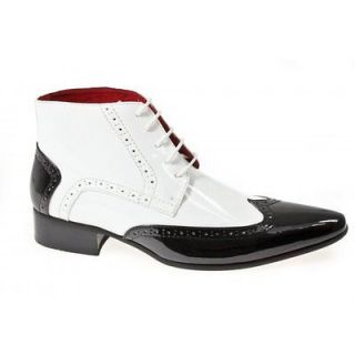 Mens Brogue Funky Pointed Gangster Leather Lined Party Patent Boots