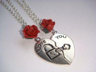 SALE Pair of Split Broken Heart I Love You Necklaces Sister Best