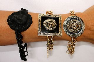 LION HEAD MEDUSA GREEK KEY CHUNKY CHAIN LINK BRACELETS REBECCA RAY NWT