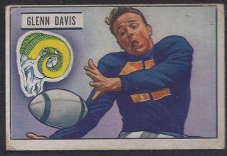 1951 BOWMAN GLENN DAVIS VG LOS ANGELES RAMS #42 CORNER CREASE