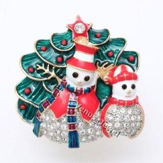 Snowman Family Christmas Tree Rhinestone Crystal Brooch Pin B764