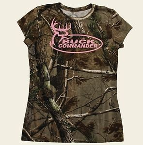 BUCK COMMANDER WOMENS CAMO T SHIRT SHORT SLEEVE PINK LOGO