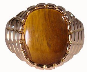 Mens Huge Genuine Brown Tiger Eye 18kt Gold Plated Ring