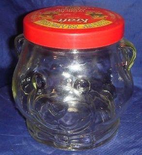 BR787 Vtg 1989 Kraft Peanut Butter Cookie Jar Teddy Bear Head Bow Tie