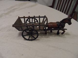 Antique Cast Iron Donkey Drawn Cart wagon vintage old metal
