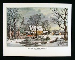 Currier & Ives Print   Winter in the Country Old Grist Mill   Snow