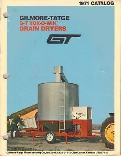 GT TOX O WIK RECIRCULATING BATCH GRAIN DRYERS SALES CATALOG 1971