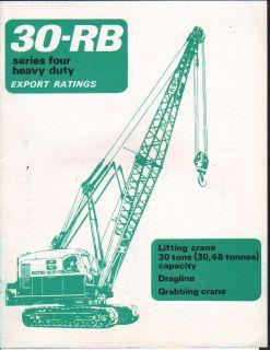 Ruston Bucyrus 30 RB Dragline Crane Brochure Leaflet